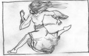 Septima does a lot of running in this story. I found the image of a leaping runner going flat out; actually, this its more of a ballet prance than a sprint, but it looks as though she's goin' like stink! I may add a few zombie hands reaching out from the right side. We'll see.